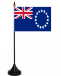 Cook Islands Desk / Table Flag with plastic stand and base.